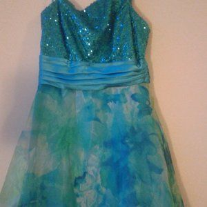 ❗2/$25❗ Blue & Green Floral Prom Dress
